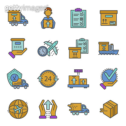 Parcel dellivery icons set, outline style