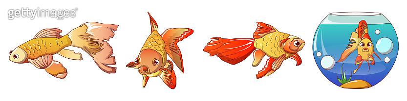 Goldfish icons set, cartoon style