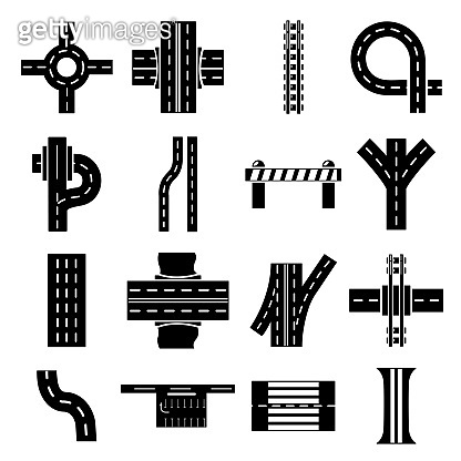 Road parts constructor icons set, simple style
