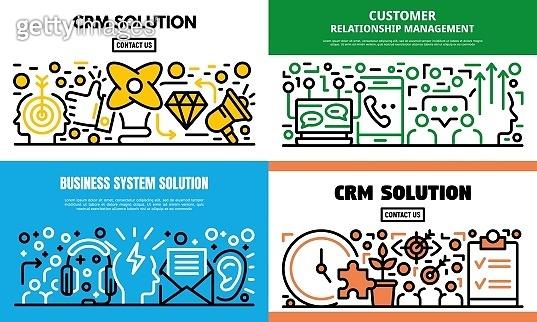 Customer relationship management banner set, outline style