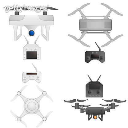Drone icons set, realistic style