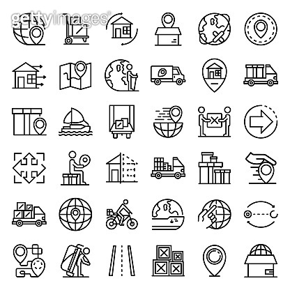 Relocation icons set, outline style