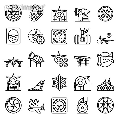 Aircraft repair icons set, outline style