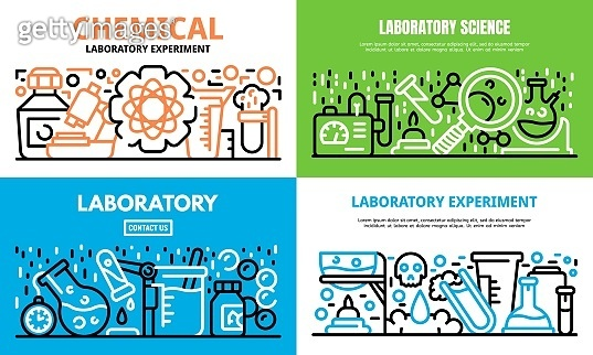 Chemical laboratory experiment science banner set, outline style