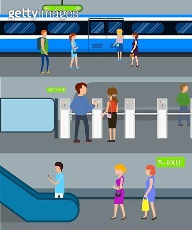 Subway station banner concept set, flat style