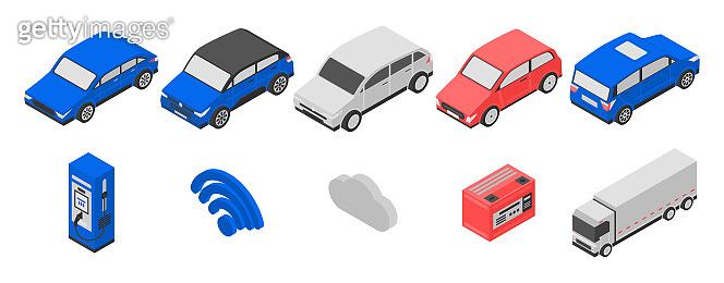 Hybrid icons set, isometric style