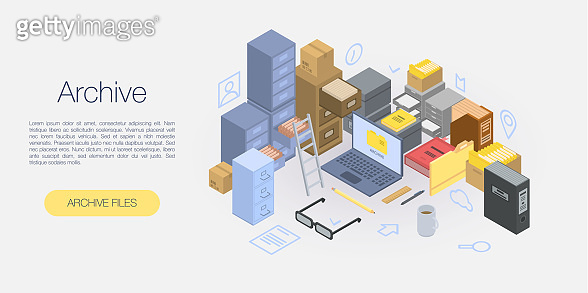 Office archive concept banner, isometric style