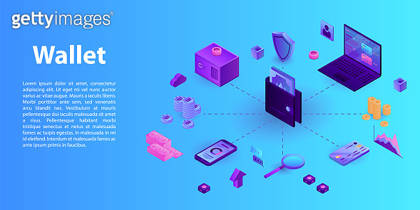 Modern wallet concept banner, isometric style