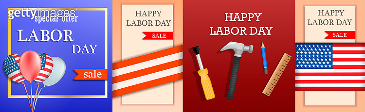Labor Day sale banner concept set, realistic style