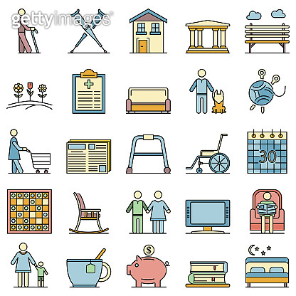 Pension icons set line color vector, outline style
