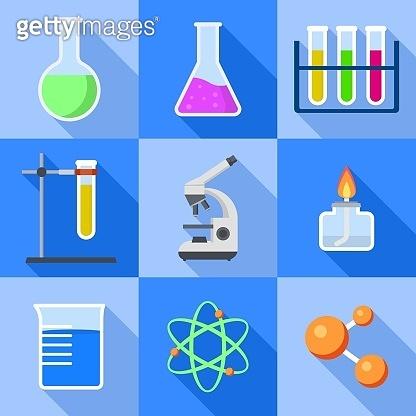 Chemistry icons set, flat style