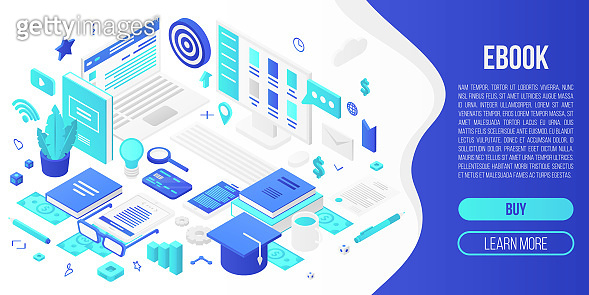 Digital ebook concept banner, isometric style