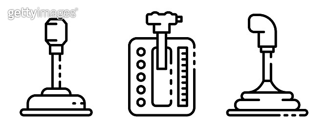 Gearbox icons set, outline style
