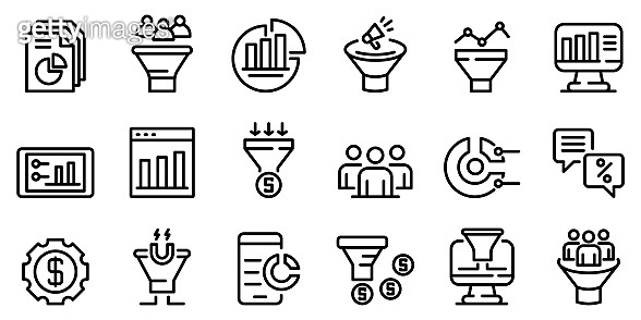 Conversion rate icons set, outline style