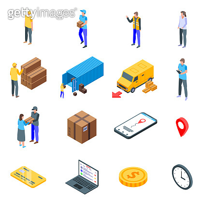 Parcel delivery icons set, isometric style