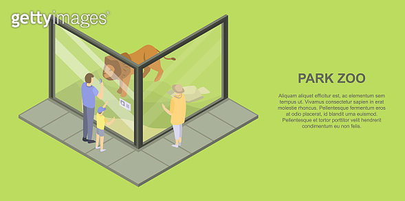 Park zoo banner, isometric style