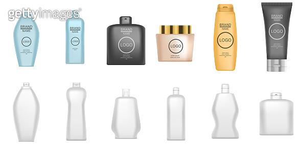 Shampoo icons set, realistic style
