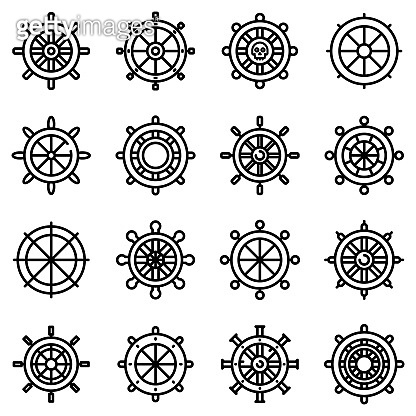 Ship wheel icons set, outline style