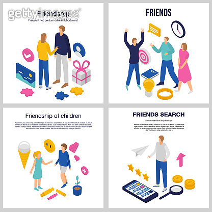 Friendship banner set, isometric style
