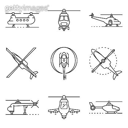 Helicopter icons set, outline style