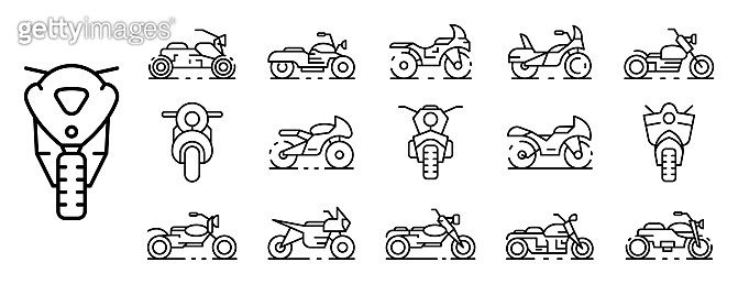 Motorbike icons set, outline style
