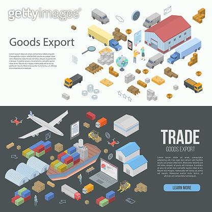 World goods export banner set, isometric style