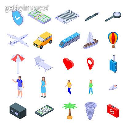 Family travel insurance icons set, isometric style