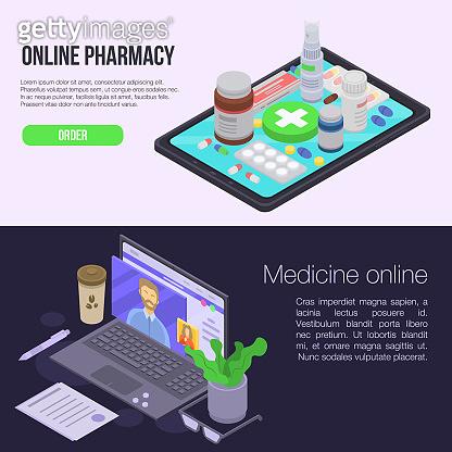 Online pharmacy banner set, isometric style