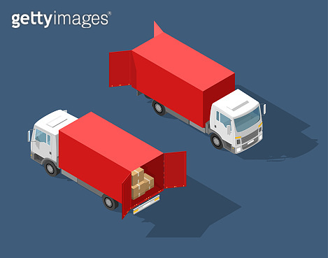 Truck transportation. Fast delivery or logistic transport. Easy colour change. Detailed trucks. Cargo delivering vehicle template vector isolated on white view Isometry front, back