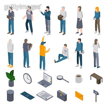 Unemployed icons set, isometric style