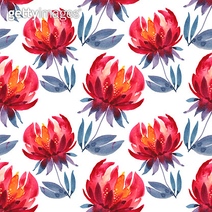 Seamless pattern watercolor hand-drawn red and orange flower chrysanthemum with blue leaves. Art creative nature background for card, wallpaper, textile, wrapping, florist