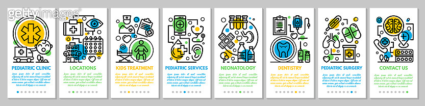 Medical pediatric clinic banner set, outline style