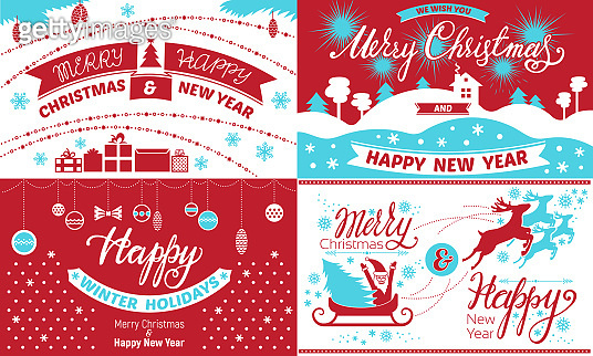Happy Christmas banner set, simple style