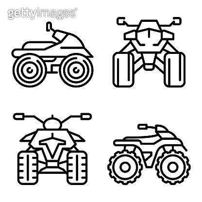 Quad bike icons set, outline style