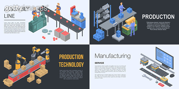 Assembly line manufacture banner set, isometric style