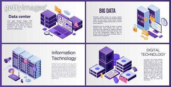 Data center server banner set, isometric style