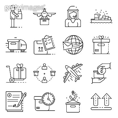 Parcel delivery icons set, outline style