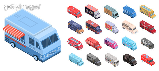 Food truck icons set, isometric style