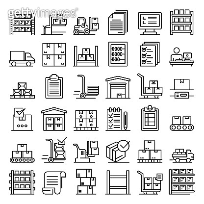 Inventory icons set, outline style