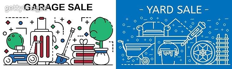 Garage sale banner set, outline style
