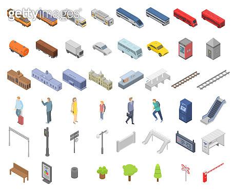 Railway station icons set, isometric style