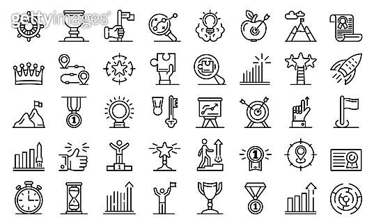 Goal achievement icons set, outline style