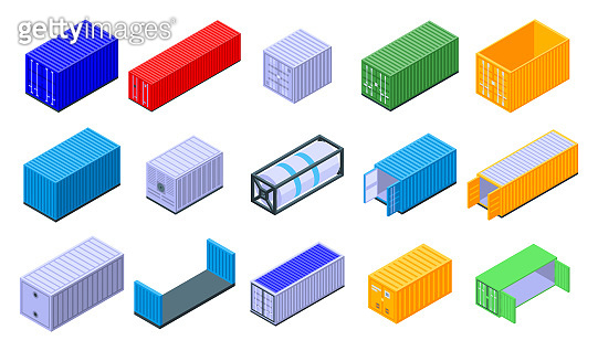 Cargo container icons set, isometric style