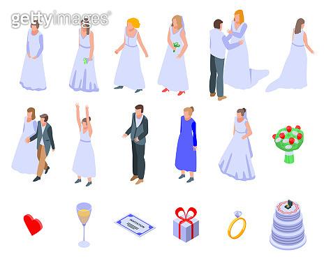Bride icons set, isometric style