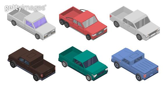 Pickup icons set, isometric style