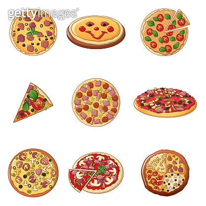 Pizza icon set, cartoon style