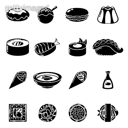 Japan food icons set, simple style