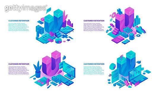 Customer retention banner set, isometric style