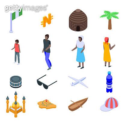 Nigeria icons set, isometric style
