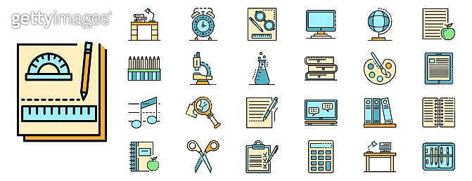 Homework icons set line color vector, outline style